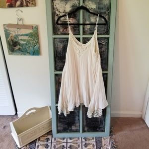 White Slip Dress with Lace Details